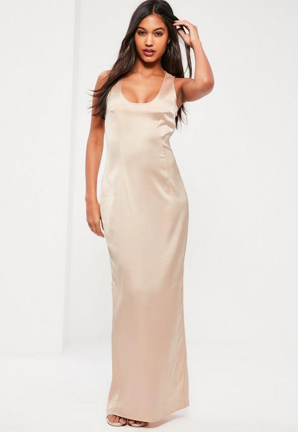 Nude Silky Scoop Neck Column Maxi Dress