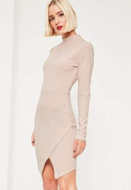 Pink High Neck Asymmetric Dress
