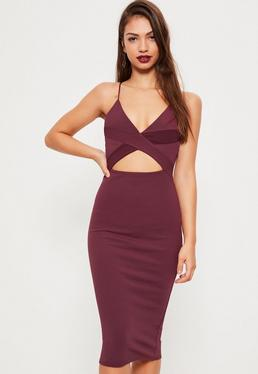 Purple Crepe Strappy Cutout Waist Midi Dress