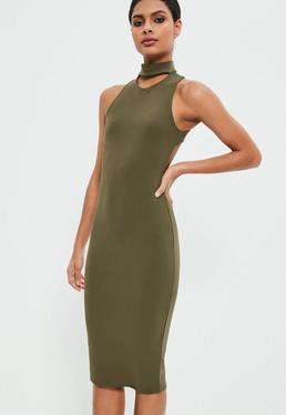 Khaki Choker Neck Cross Back Midi Dress