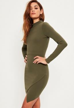 Khaki High Neck Asymmetric Dress