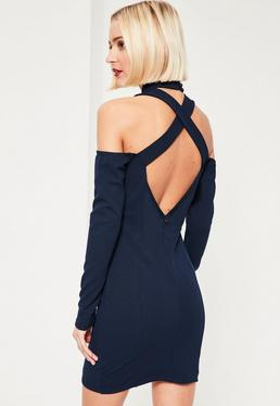 Navy Cut Out High Neck Long Sleeve Mini Dress