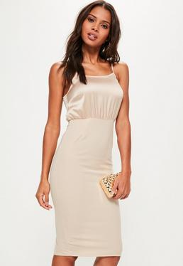 Nude Silky Contrast Midi Dress