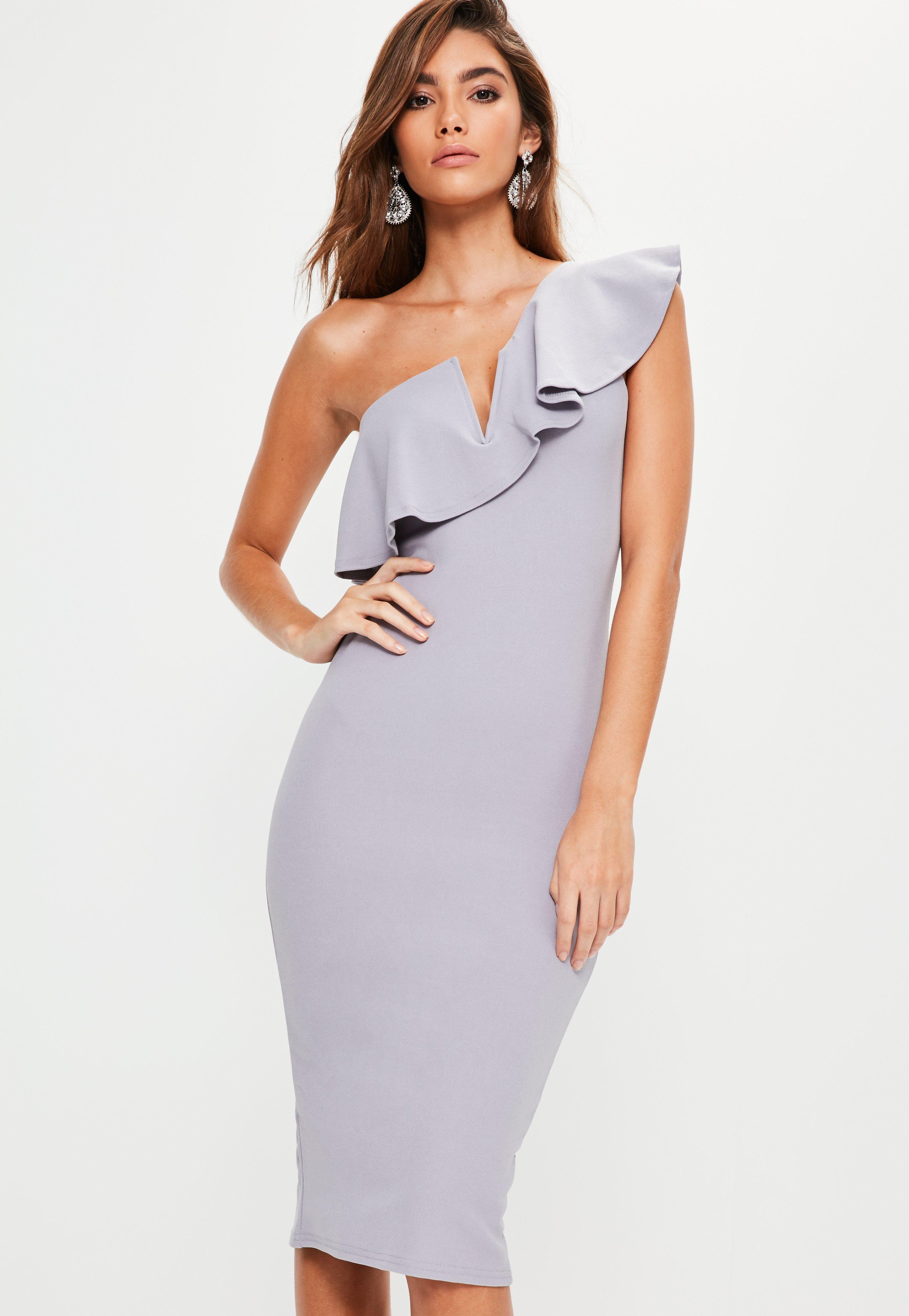 Wedding One Shoulder Dress grey one shoulder frill midi dress missguided previous next