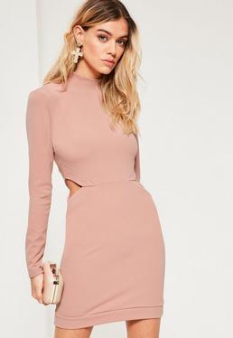 Pink Cut Out High Neck Long Sleeve Mini Dress