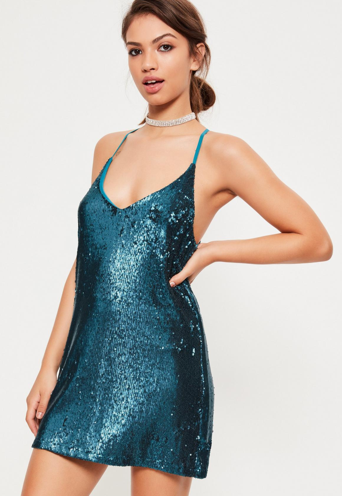 Blue Sequin Plunge Shift Dress | Missguided