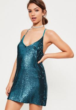 Blue Sequin Plunge Shift Dress