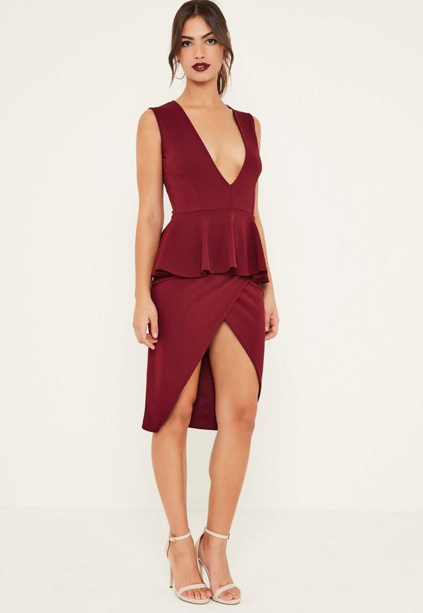 Burgundy Sleeveless Peplum Midi Dress