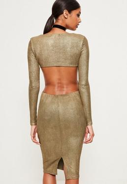 Gold Foil Rib Open Back Midi Dress