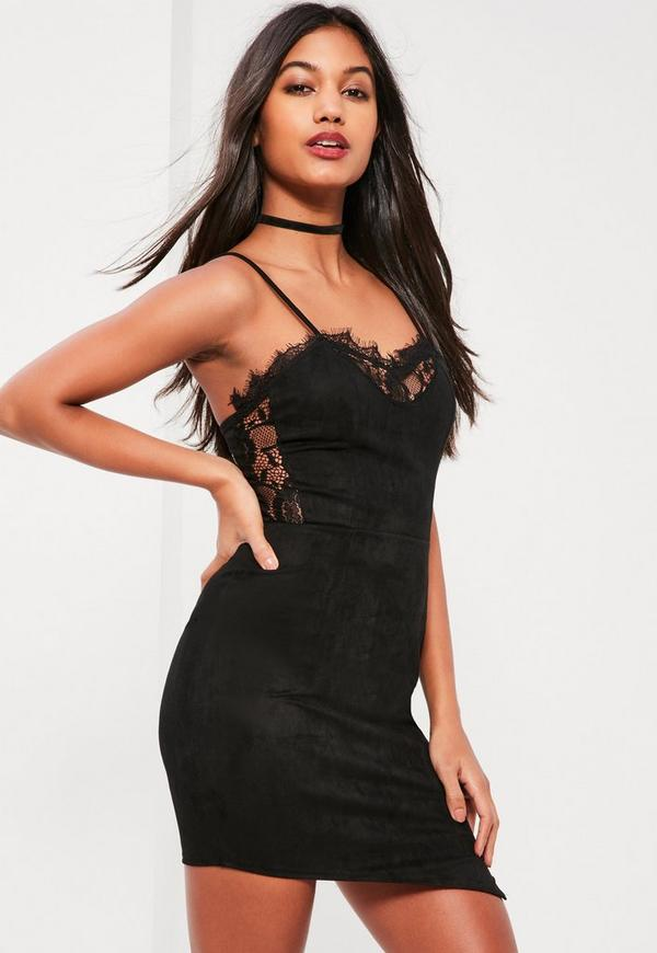Black Suede and Lace Bodycon Dress