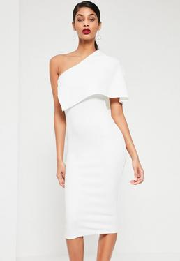 White One Shoulder Cape Midi Dress