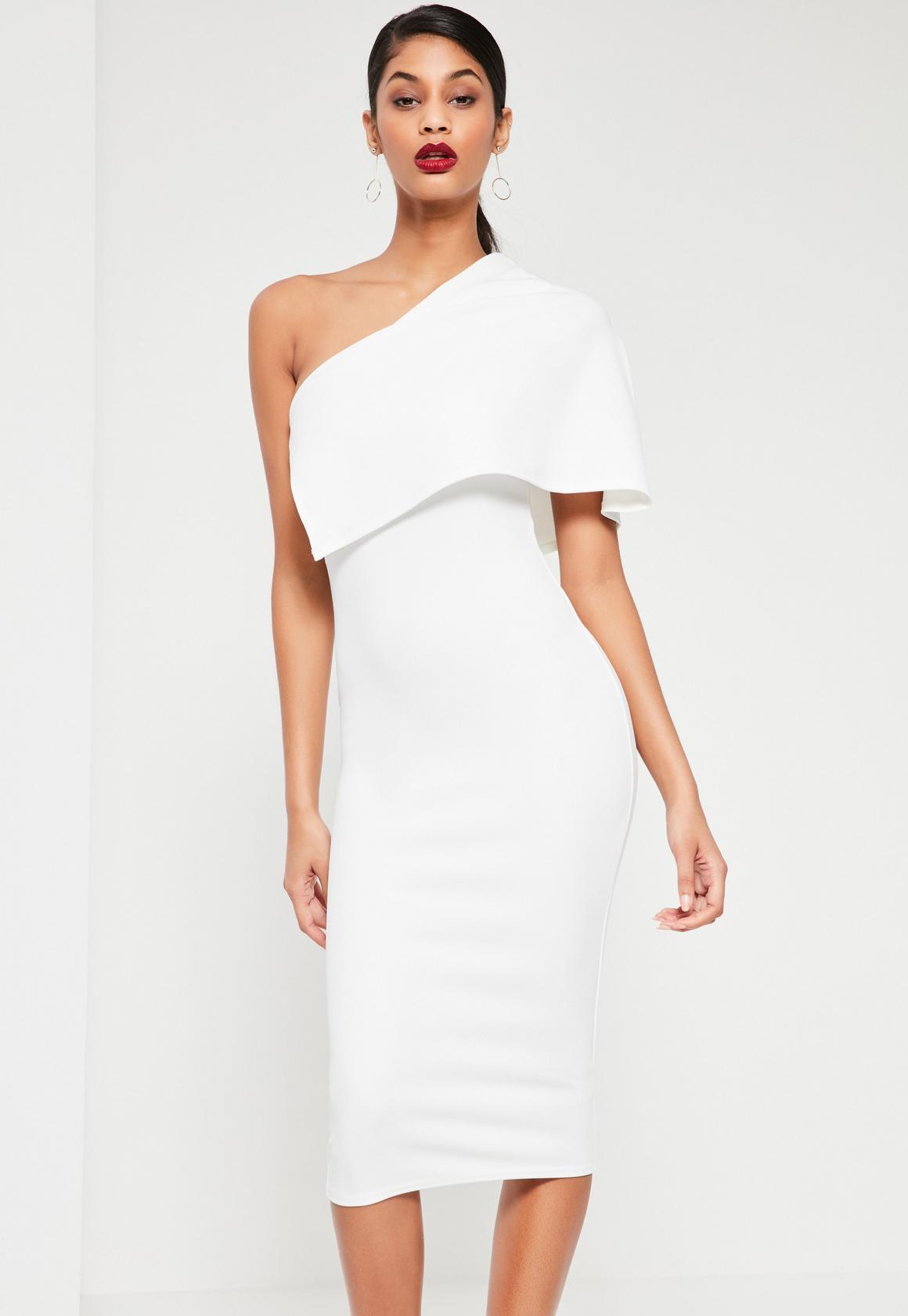 White One Shoulder Cape Midi Dress - Missguided