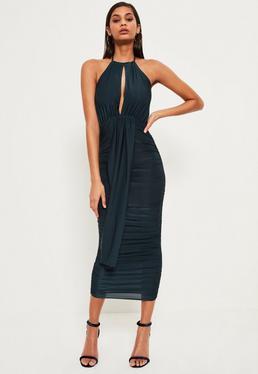Green Slinky Keyhole Ruched Midi Dress