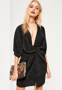 Black Pleated Twist Kimono Dress