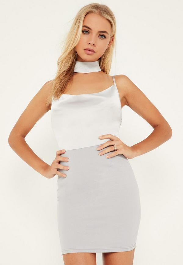 Grey Silky Cowl Choker Shift Dress