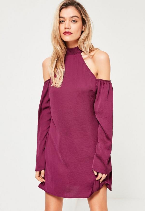 Purple High Neck Cold Shoulder Dress