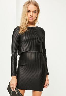 Black Coated Pleated Overlay Mini Dress