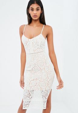 White Lace Strappy Plunge Midi Dress