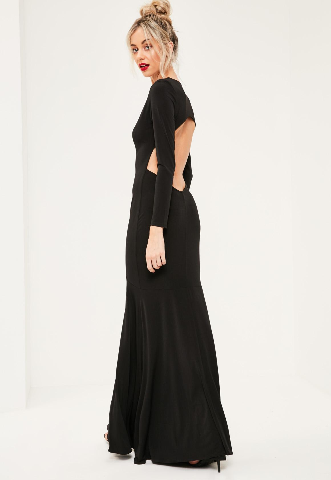 Black Plunge Long Sleeve Open Back Maxi Dress | Missguided