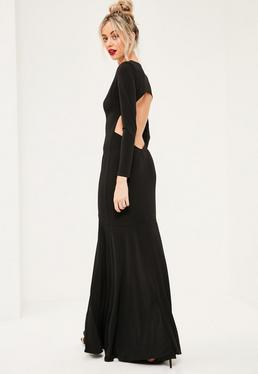 Black Plunge Long Sleeve Open Back Maxi Dress