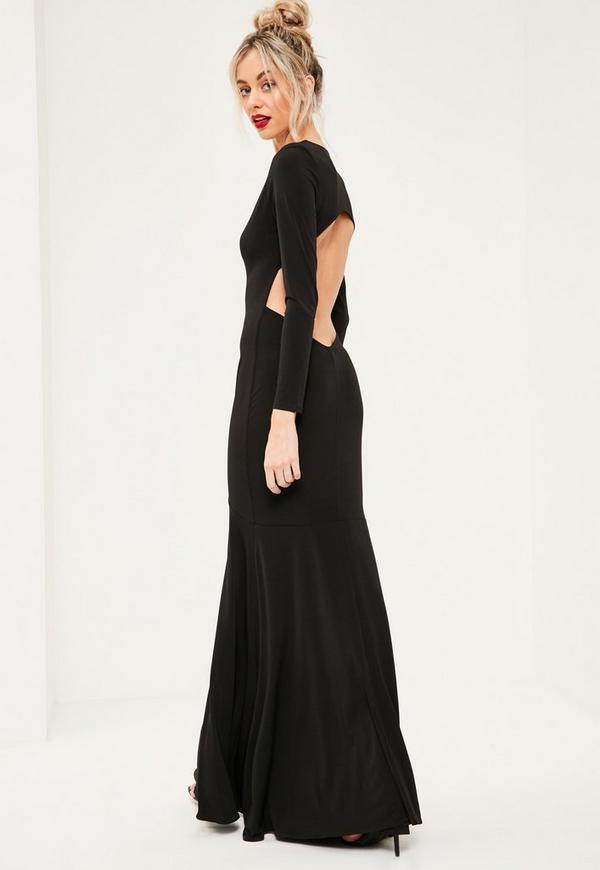 Black Plunge Long Sleeve Open Back Maxi Dress