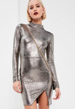 Silver Mock Wrap Metallic Dress