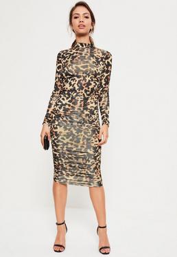 Robe manches longues froncée marron imprimé léopard