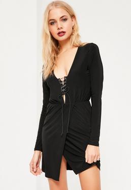 Black Slinky Tie Front Wrap Detail Dress