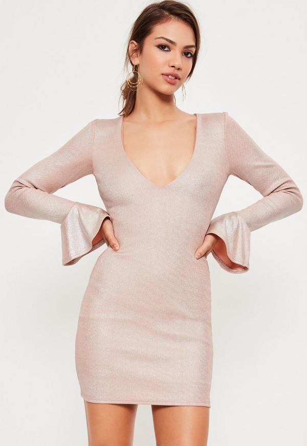 Pink Foil Rib Frill Sleeve Mini Dress