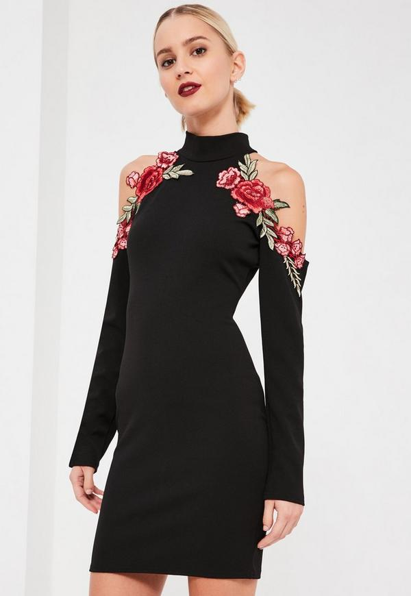 Black Embroidered Cold Shoulder Dress Missguided