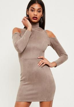 Nude Faux Suede Cold Shoulder Bodycon Dress