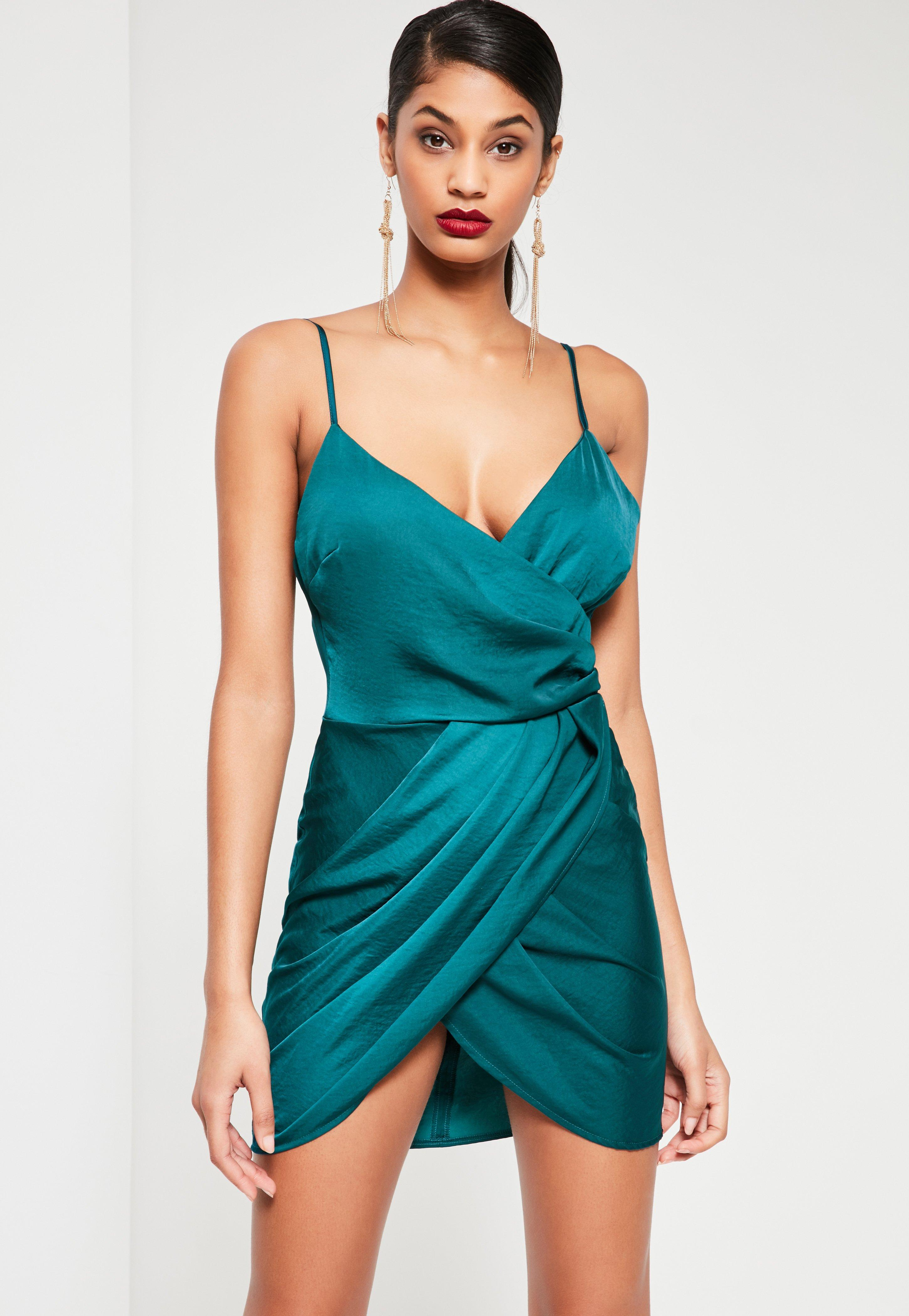 Teal Silky Wrap Dress | Missguided