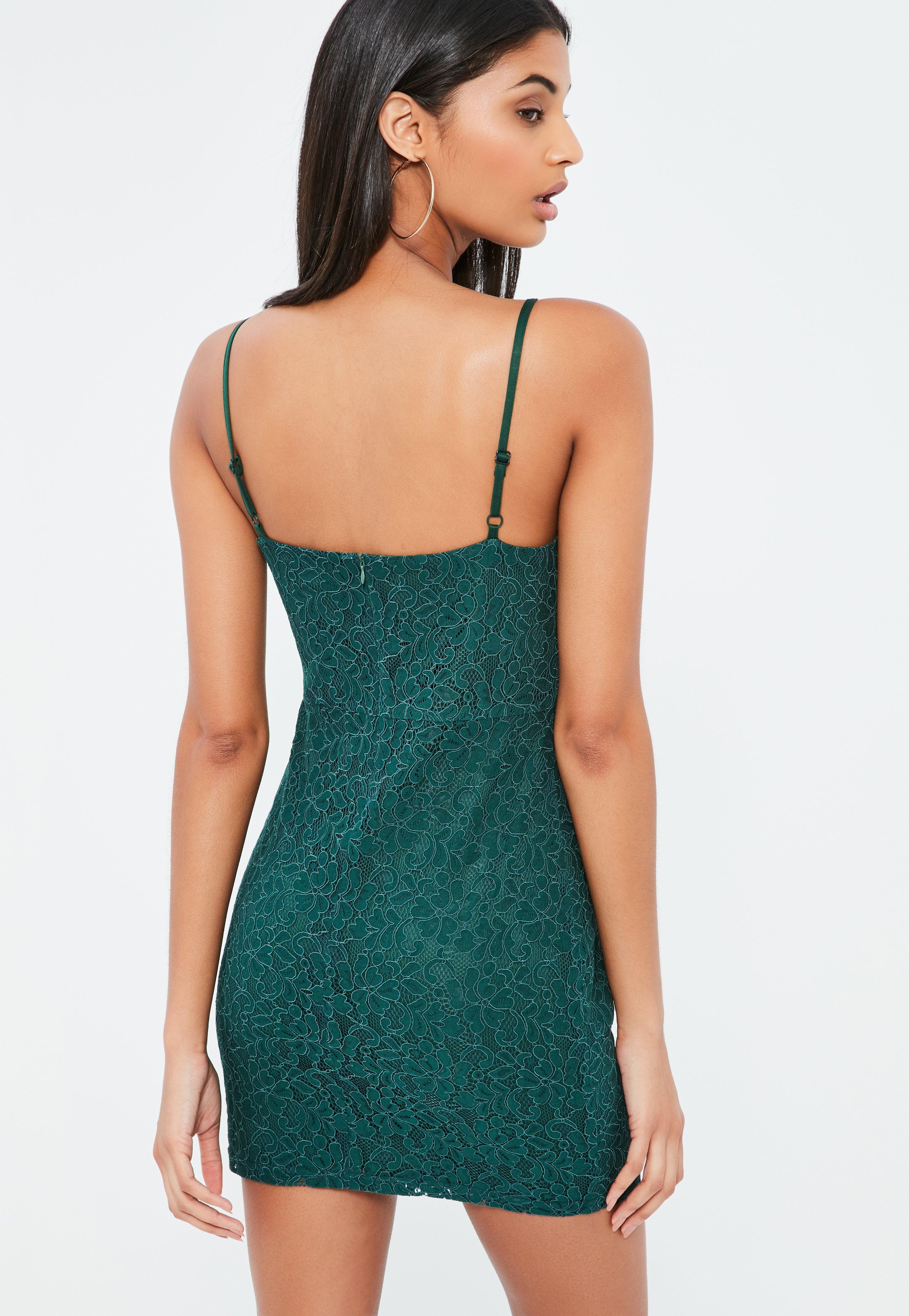 Green Lace Strappy Bodycon Dress