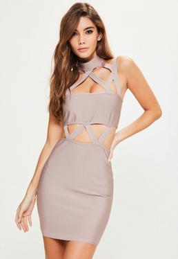 Fioletowa dopasowana bandażowa sukienka z wycięciami