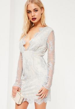 Grey Lace Plunge Bodycon Dress