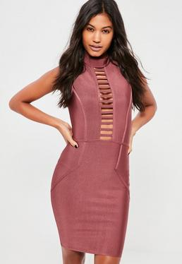Purple Bandage Cut Out Bodycon Dress