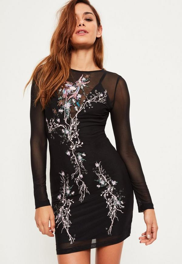 Black Mesh Embroidered Bodycon Dress