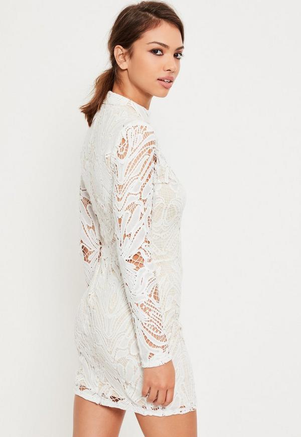 white lace high neck bodycon dress missguided