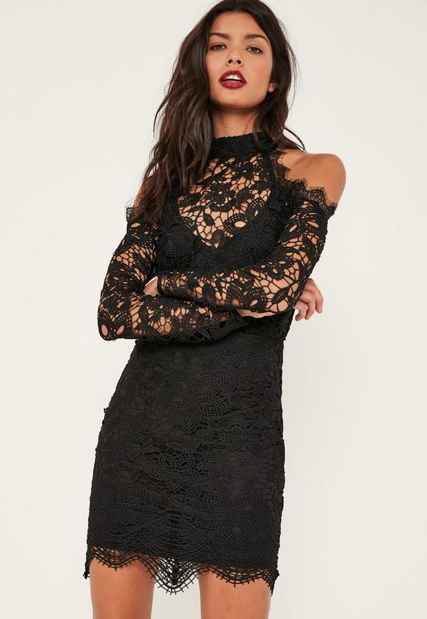 Product photo of Black cold shoulder lace bodycon dress black