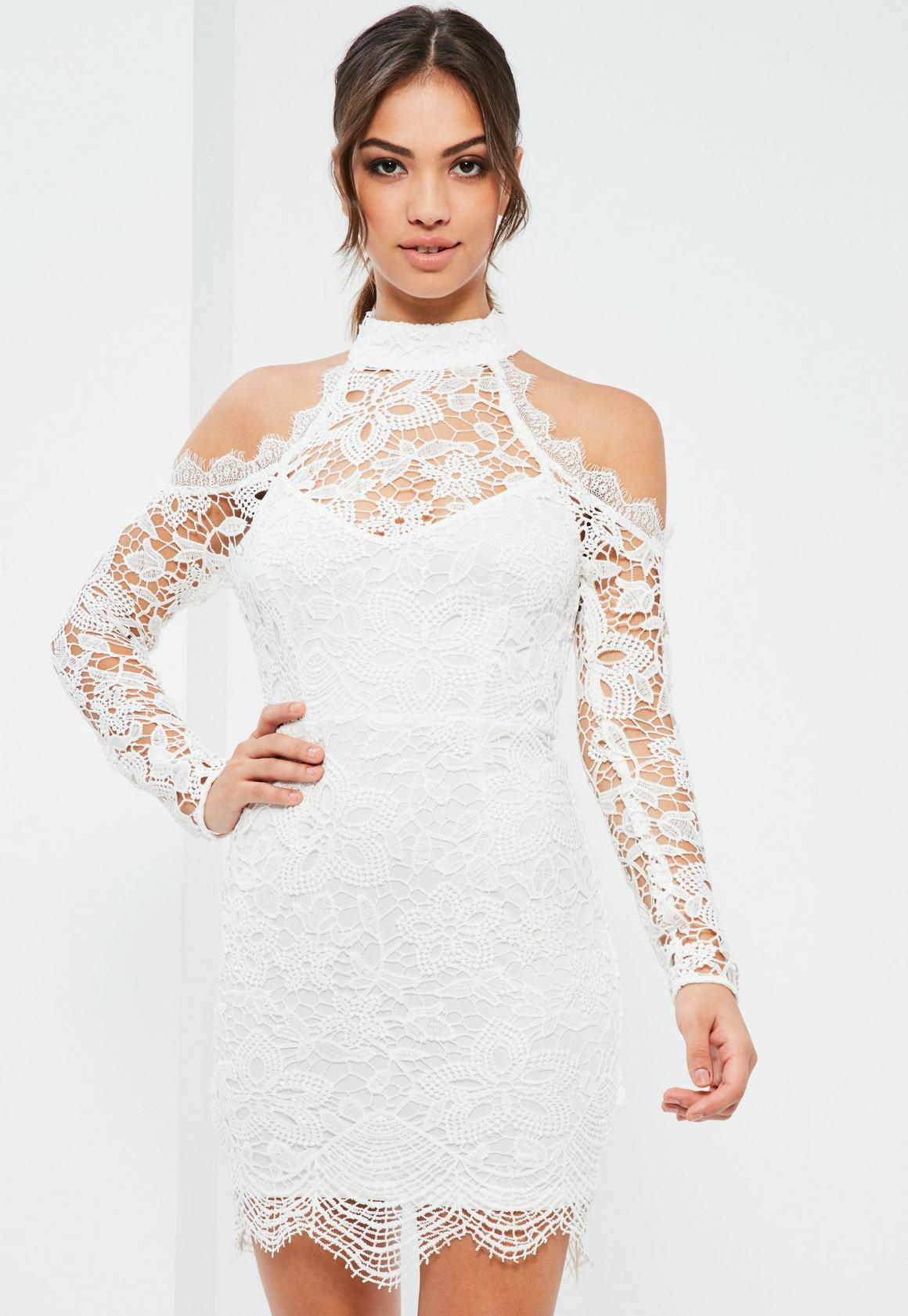 Lace Dresses - Short & Long Sleeved Lace Dress   Missguided