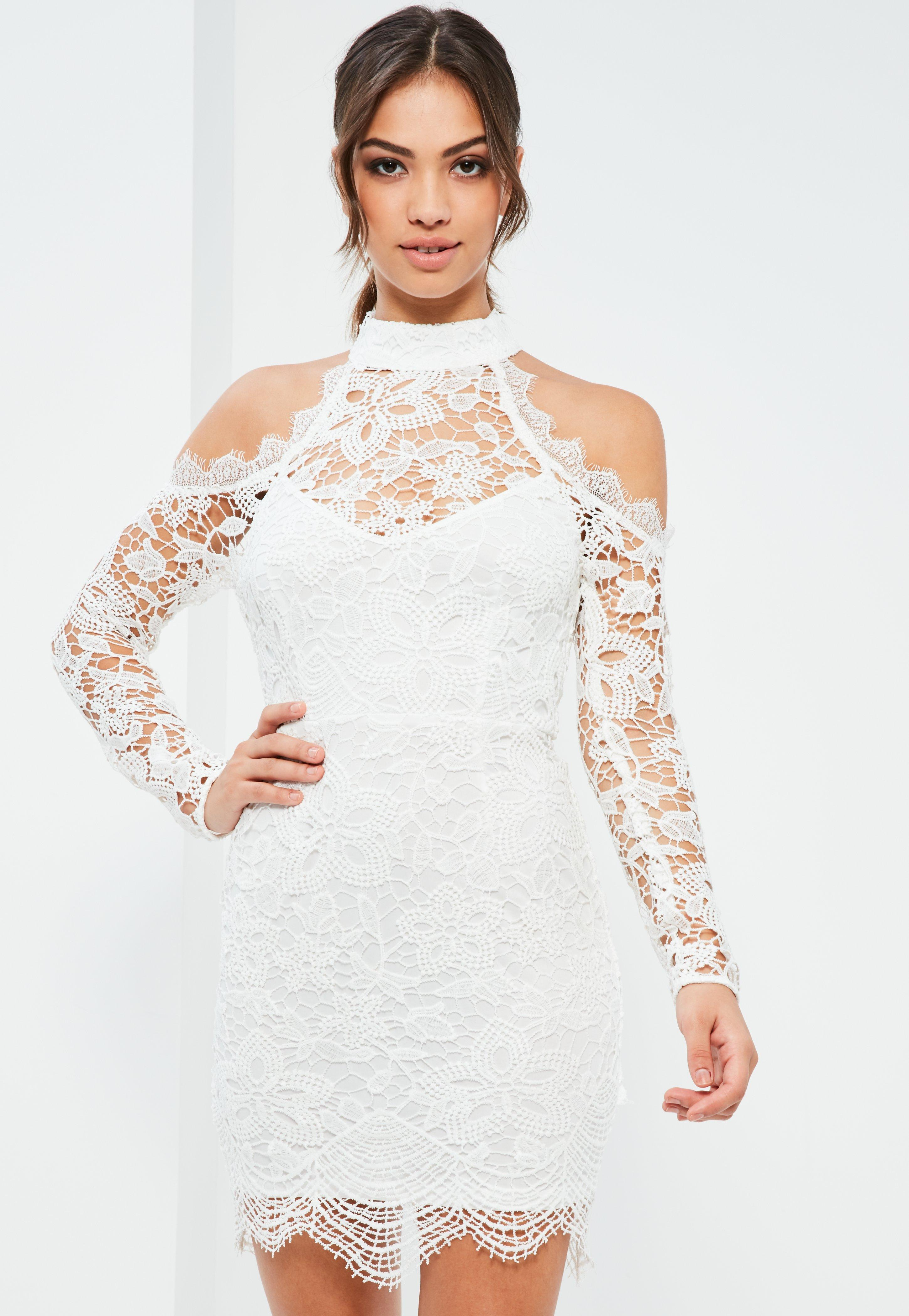 Wedding White Lace white lace cold shoulder bodycon dress missguided previous next