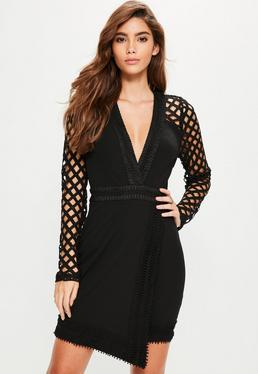 Black Lace Plunge Asymmetric Bodycon Dress