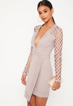 Robe portefeuille violette manches ajourées