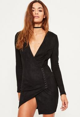Black Faux Suede Wrap Bodycon Dress
