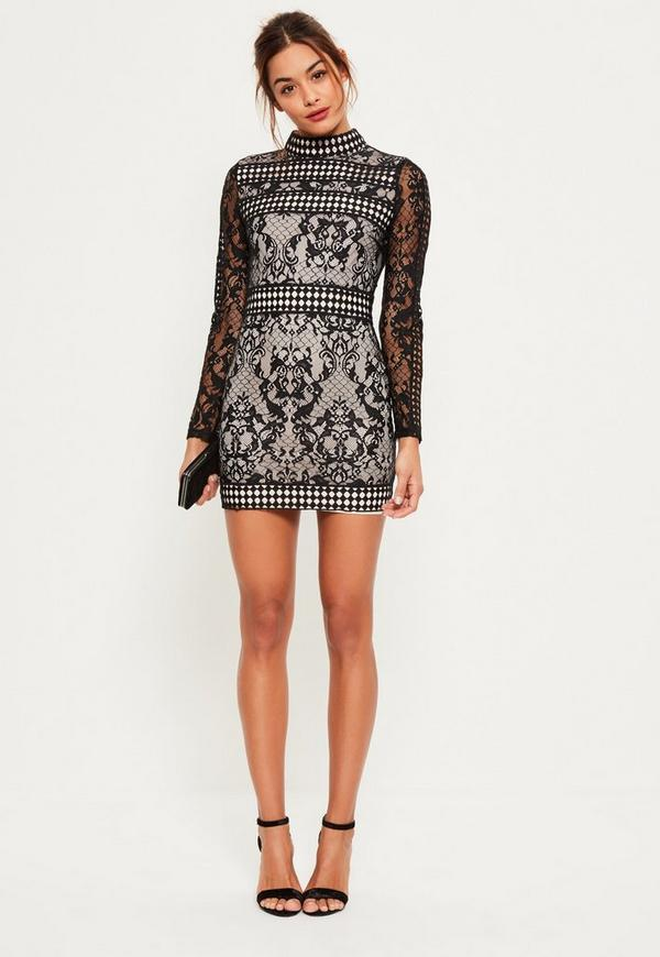 Black Lace Long Sleeve High Neck Bodycon Dress | Missguided
