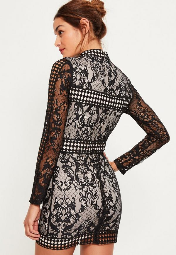Black Lace Long Sleeve High Neck Bodycon Dress Missguided