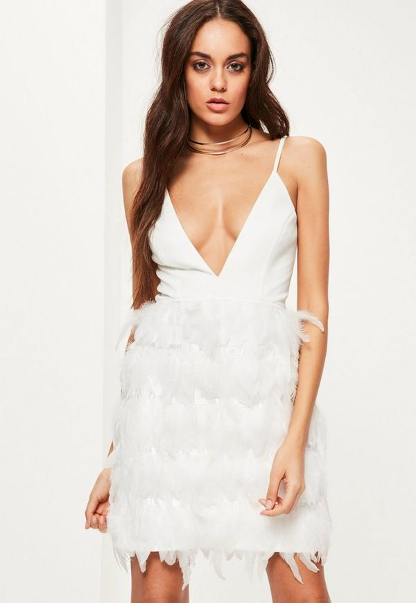 White Plunge Feather Bodycon Dress