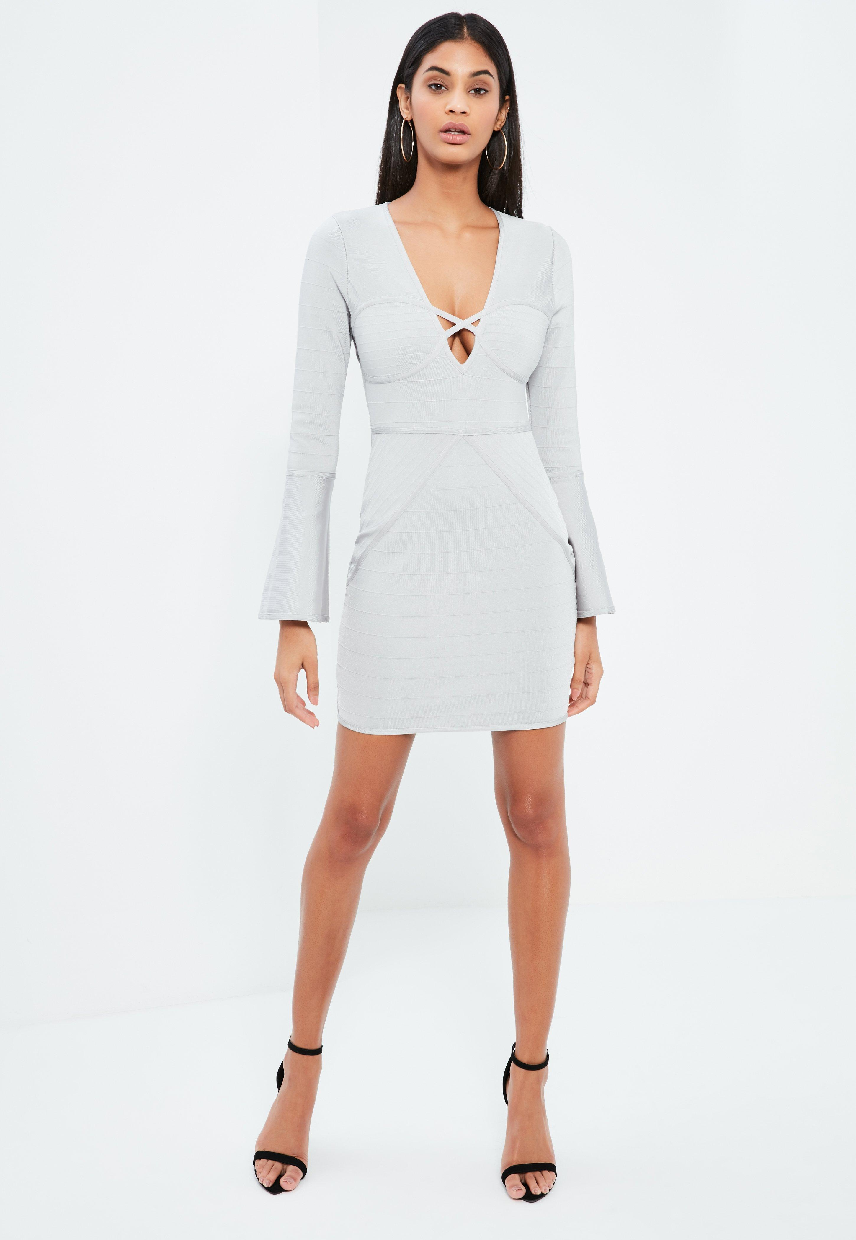 Grey Bandage Flare Sleeve Bodycon Dress