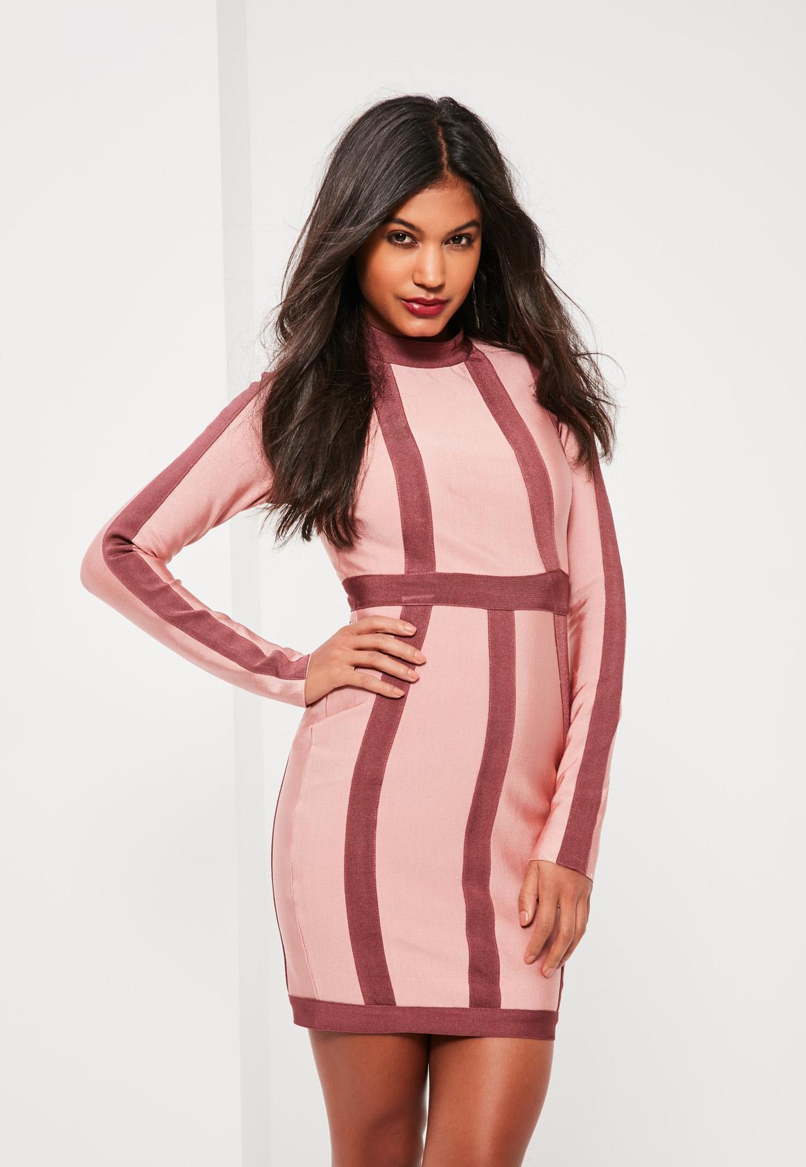 Figurbetontes Langärmliges Kleid mit Kontrast-Bandage-Design in Rosa ...