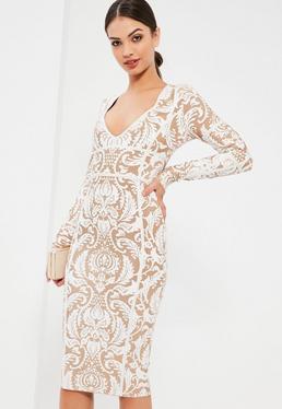 White Bandage Patterned Strap Detail Bodycon Dress